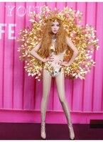 2019 женские новые ведущий танцор сексуальные костюмы бар DJ представление наряды модель подиум для показа сексуальное Золотое крыло бикини с