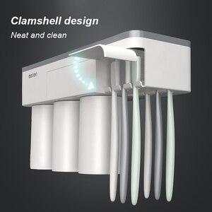 Image 4 - UNITOR plastik duvara monte diş fırçası tutucu otomatik diş macunu Dispenser tuvalet depolama raf banyo aksesuarları seti