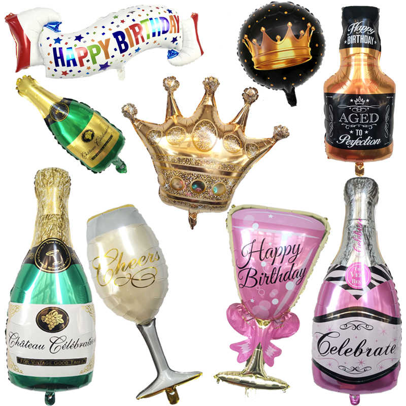 Happy 30th Birthday Party Decoration Golden Crown Champagne Glasses Whiskey Bottle Foil Balloon High School Ball Party Balloons