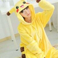2017 New Adult Pikachu Costumes Onesie Animal Cosplay Costume Unisex Fancy Pokemon Pikachu Flannel Pyjamas Hoodie