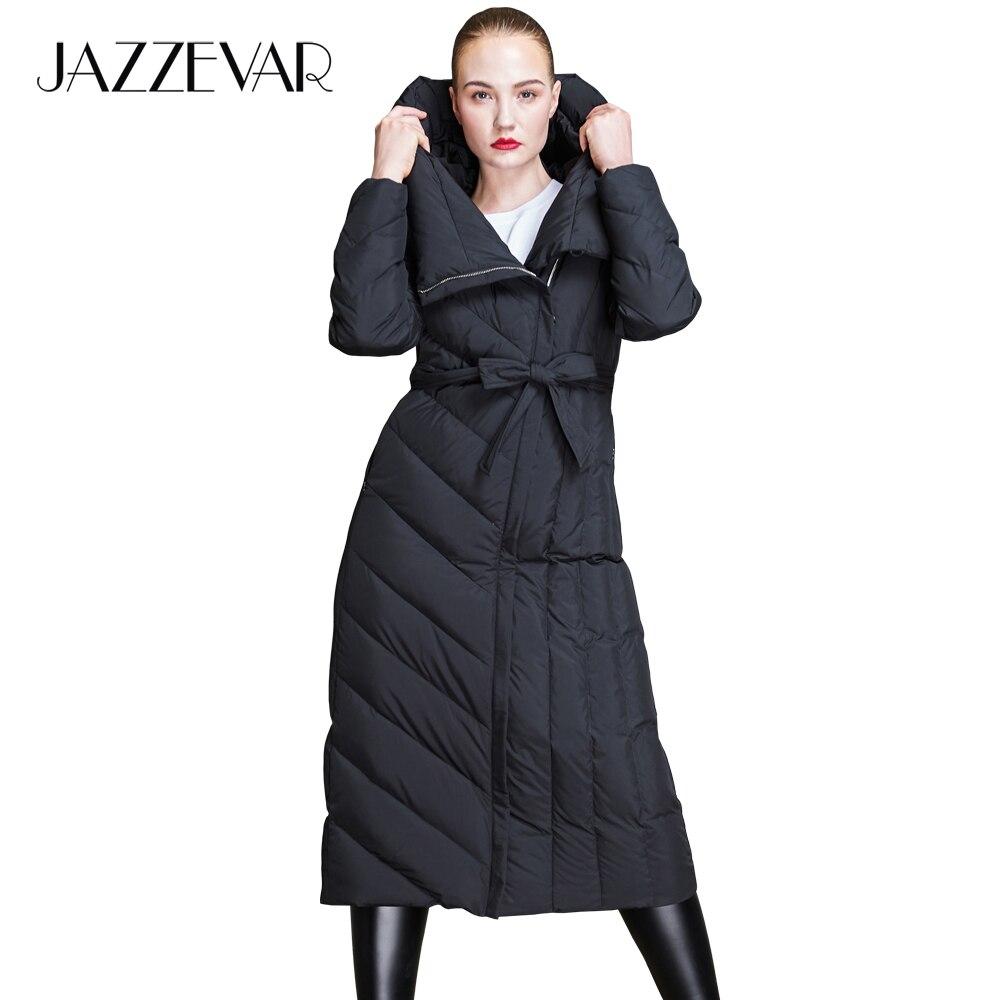 JAZZEVAR 2019 nowa moda zima kobiety długi kurtka puchowa z kapturem na co dzień robak płaszcz puchowy odzież wierzchnia z pas dobrej jakości z18002 w Płaszcze puchowe od Odzież damska na  Grupa 1