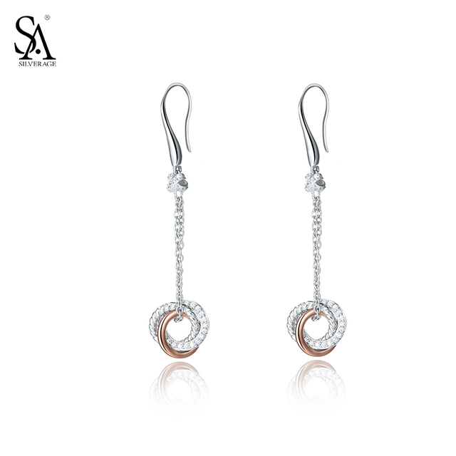 SA SILVERAGE 925 Sterling Silver Drop Dangle Earrings for Women Fine Jewelry Love Rose Gold 2017 Valentine's Gift