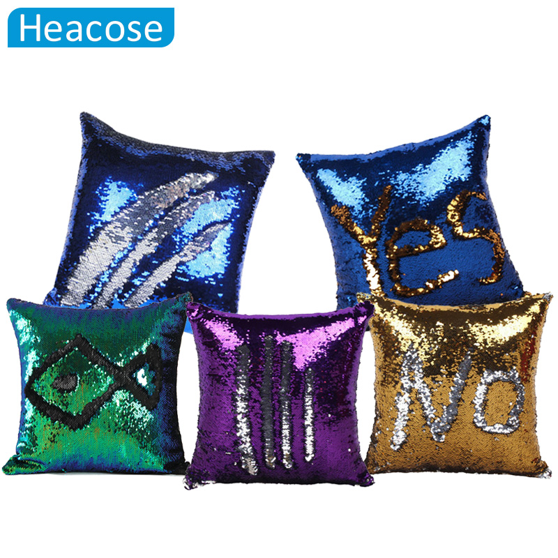 Reversible Sequin Mermaid Decorative Pillowcase