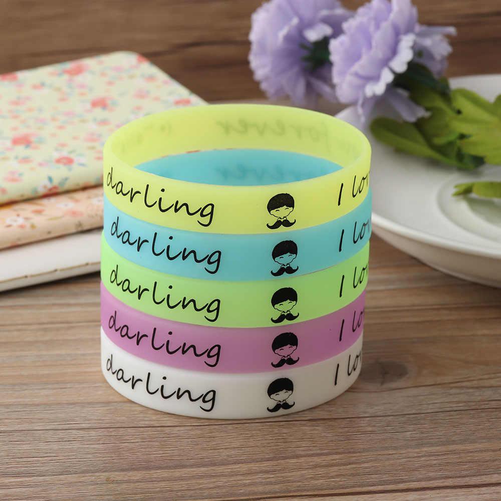 5 צבעים זוהר גומי זיעה להקת גברים נשים צמידי ברק Wristbands סיליקון צמידי זוהר בחושך חדש תכשיטי נחמד מתנה