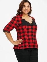 Women's Plus Size Buttons Plaid Blouse