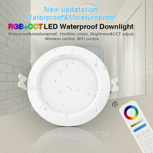 hot deal buy milight fut063 waterproof led downlights 6w rgb+cct 220v down light recessed led ceiling spot light indoor living room bathroom