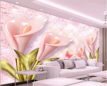 Beibehang Custom 3d wallpaper HD pink 3D calla lily high quality embossed soft bag jewelry background wall mural