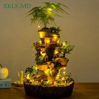Round Tower Tree House Flowerpot Solar Lamp Succulent Plants Planters Fairy Garden Sculpture Micro Landscape Potted Decoration