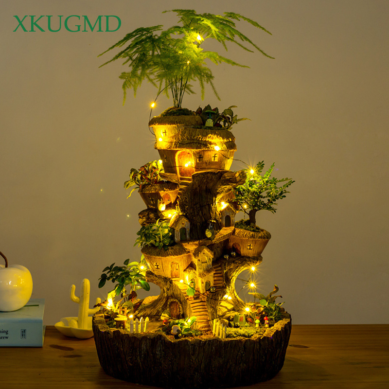 Round Tower Tree House Flowerpot Solar Lamp Succulent Plants Planters Fairy Garden Sculpture Micro Landscape Potted Decoration