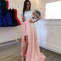 Scoop шеи Длинные свадебные платья в конец линии рукава Асимметричный Белый Кружевной топ розовая юбка развертки Поезд платья невесты