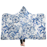 New Arrival Blanket 3D Hooded Blanket Chinese Porcelain Floral Blankets Wearable Portable Hooded Blankets Winter Home