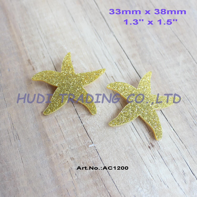 Gold star ornaments -  30pcs Lot 38mm Acrylic Sea Star Brooch Ornaments Jewelry Accessories Starfish Gold Gitter