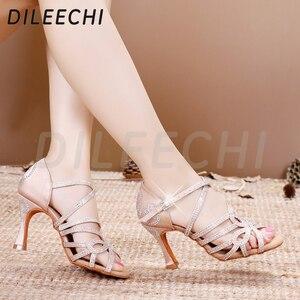 Image 5 - DILEECHI Latin Dance รองเท้าคู่ Rhinestone Shining ผิวซาตินสีดำผู้หญิงบอลรูมเต้นรำรองเท้าคิวบา heel 9 ซม.ใหม่