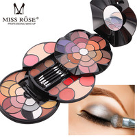 Eye shadow Palette MISS ROSE 1PC 57 Coloured Petals Make up Plates 43 Color Eyeshadow 4 Colors Eyebrow Powder r 0418#30