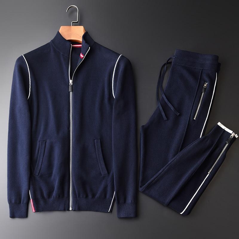 Minglu Automne Hommes Chandail de Cardigan de Tirette Blanc Bord Sweatercoat (sweatercoat + pantalon) mode Coton Ensembles 2 pcs Mens Chandails