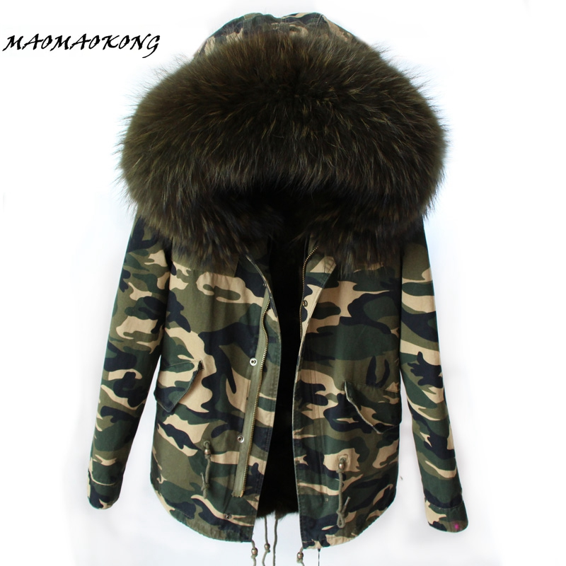 2017 Women Winter Camo Parkas Large Raccoon Fur Collar Hooded Coat Outwear 2 in 1 Detachable Lining Winter Jacket Brand Style 2