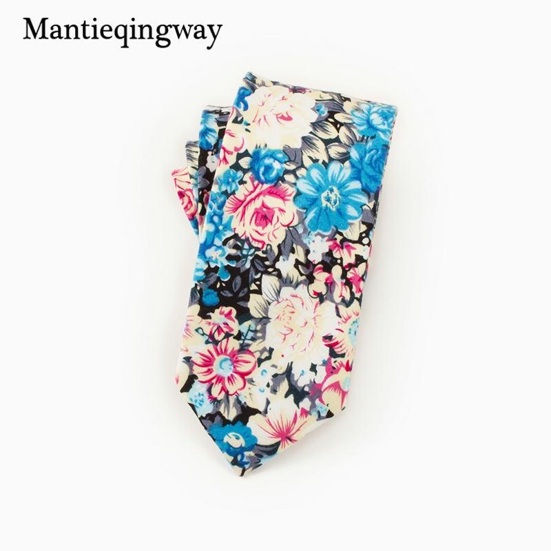 Mantieqingway Brand Mens Cotton Ties Necktie Suits Business Gravatas Vestidos Cravate Floral Printed Neck Ties For Wedding Party