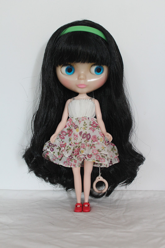 Blygirl Blyth doll Bangs black hair nude doll transparent skin ordinary DIY doll body joints 7 to change their own makeup factory blyth doll custom your doll choose hair face body skin only one doll design your own doll