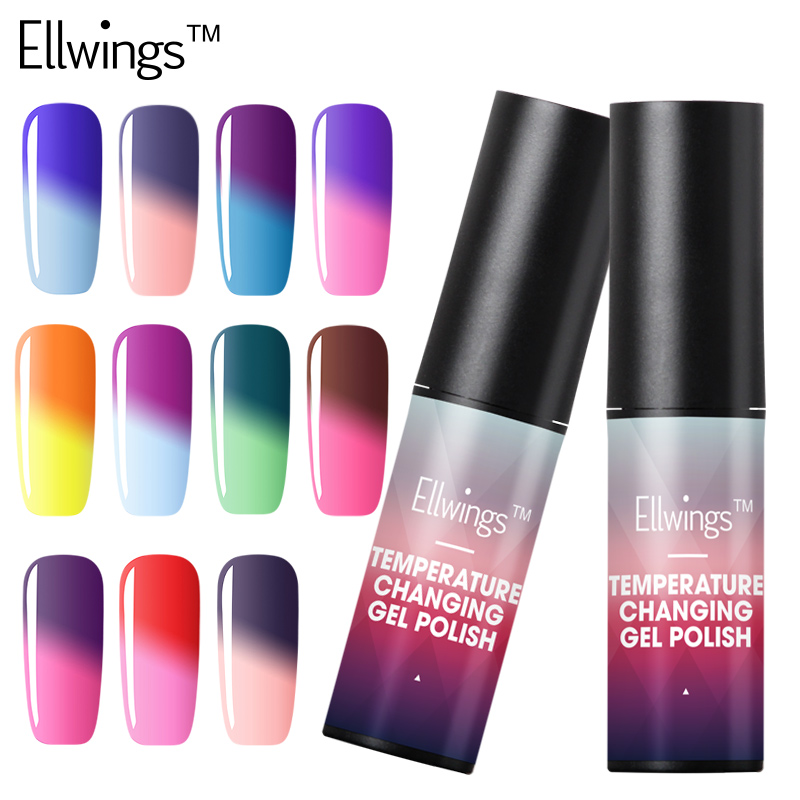 Ellwings 1pcs Hybrid Nail Paint Temperature Changing Color Soak Off Gel Lacquer Color Changing Gel Polish Chamelon