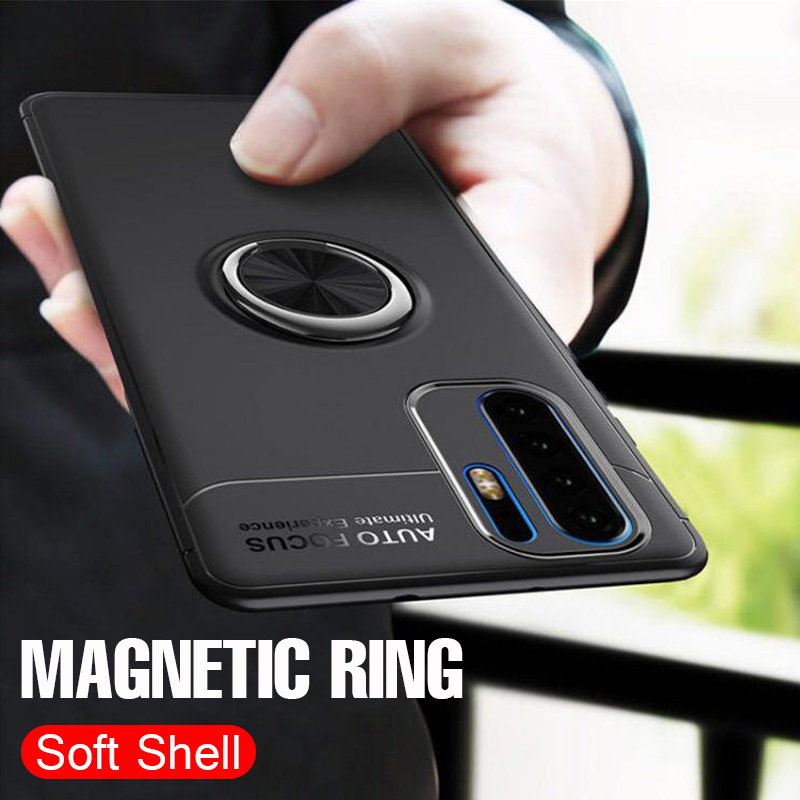 Luxury Car Magnetic Ring Soft Case On The For Huawei P30 Pro P20 Lite Full Cover For Huawei P20 P30 TPU Shockproof Bumper Case