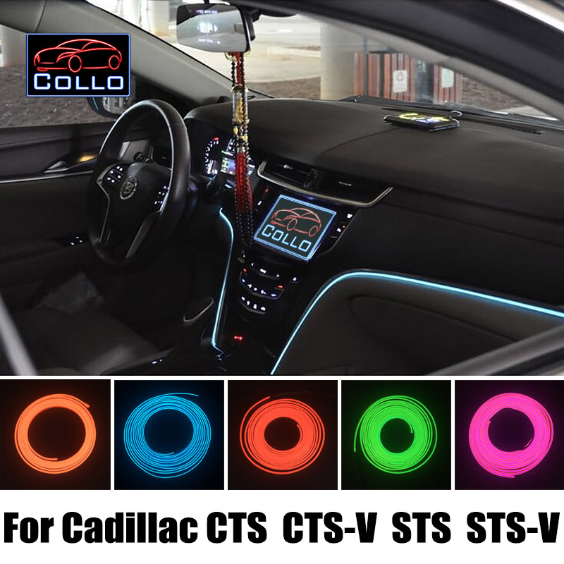 EL Wire For Cadillac CTS / CTS-V / STS / STS-V / Flexible Neon Cold Light / Car Interior Romantic Atmosphere Lamp  9 Meter A Set ibanez ce16m cts