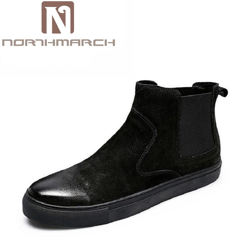 NORTHMARCH Men Boots Luxury Fashion Black Chelsea Boots Men Outdoor Shoes Men Footwear Rubber Ankle Boot Winter Shoes Chuteira цены онлайн