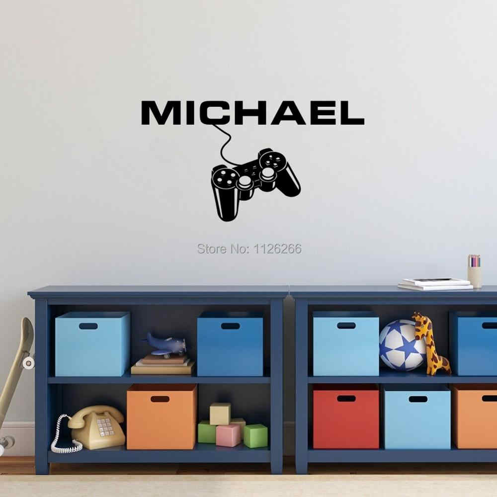 Personalised Any Boys Name with Gamer Controller Creative Vinyl Sticker Home Decor Art Decal