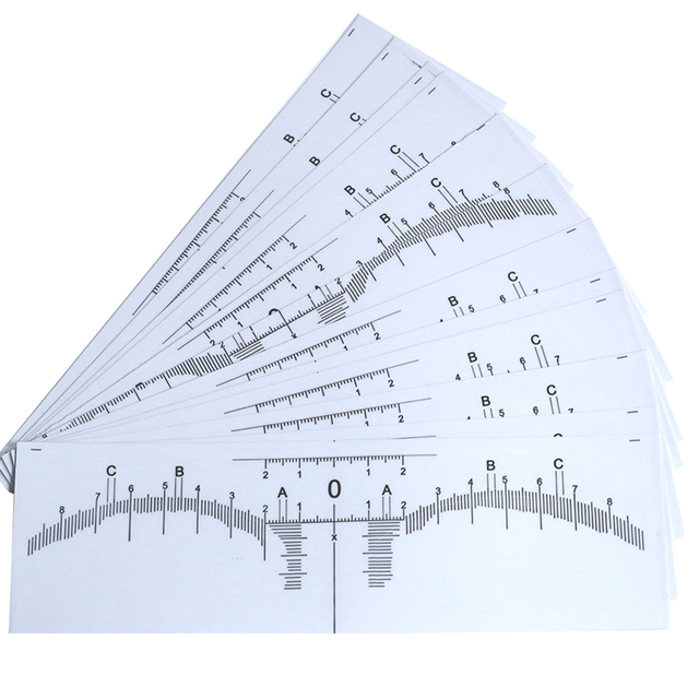 100 pcs Microblading Disposable Accurate tattoo Ruler sticker Sticker stencils Permanent Makeup Tebori Eyebrow shaping Tools 2