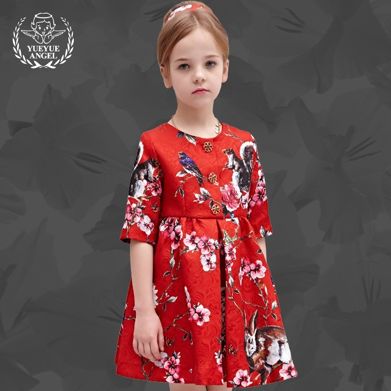 2018 Hot Spring Chinese Style Children Dresses For Girls Fashion Short Sleeve Kids Clothing Girl Summer Floral Vestido Curto girls dresses 2017 hot sell girl fashion