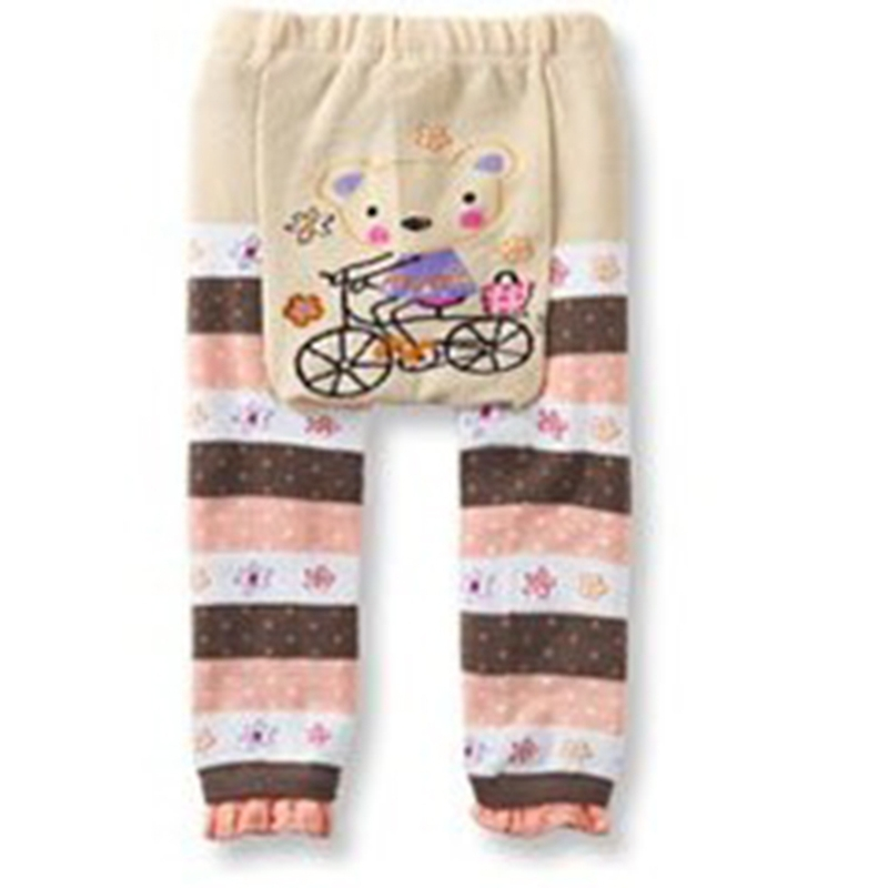 3-24 M Baby Pants cartoon print knitted pp pants elastic waist toddler Leggings Kids Clothes pocket side elastic waist pants