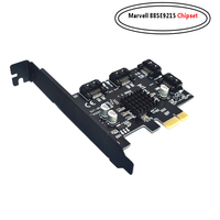 4 Ports SATA 6Gbps PCI Express Controller Card PCI e to SATA III Adapter/converter with Heat Sink Expansion Adapter Board for PC
