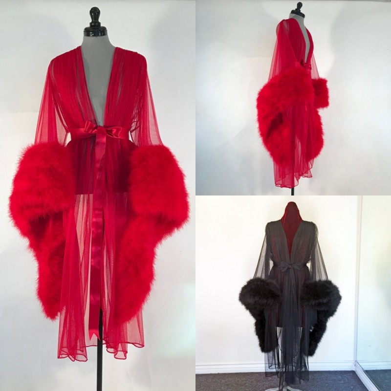 2020 Sexy Illusion Night Robe Long Sleeve Luxury Feathers Party Sleepwear Custom Made Tea Length Nightgowns Robes