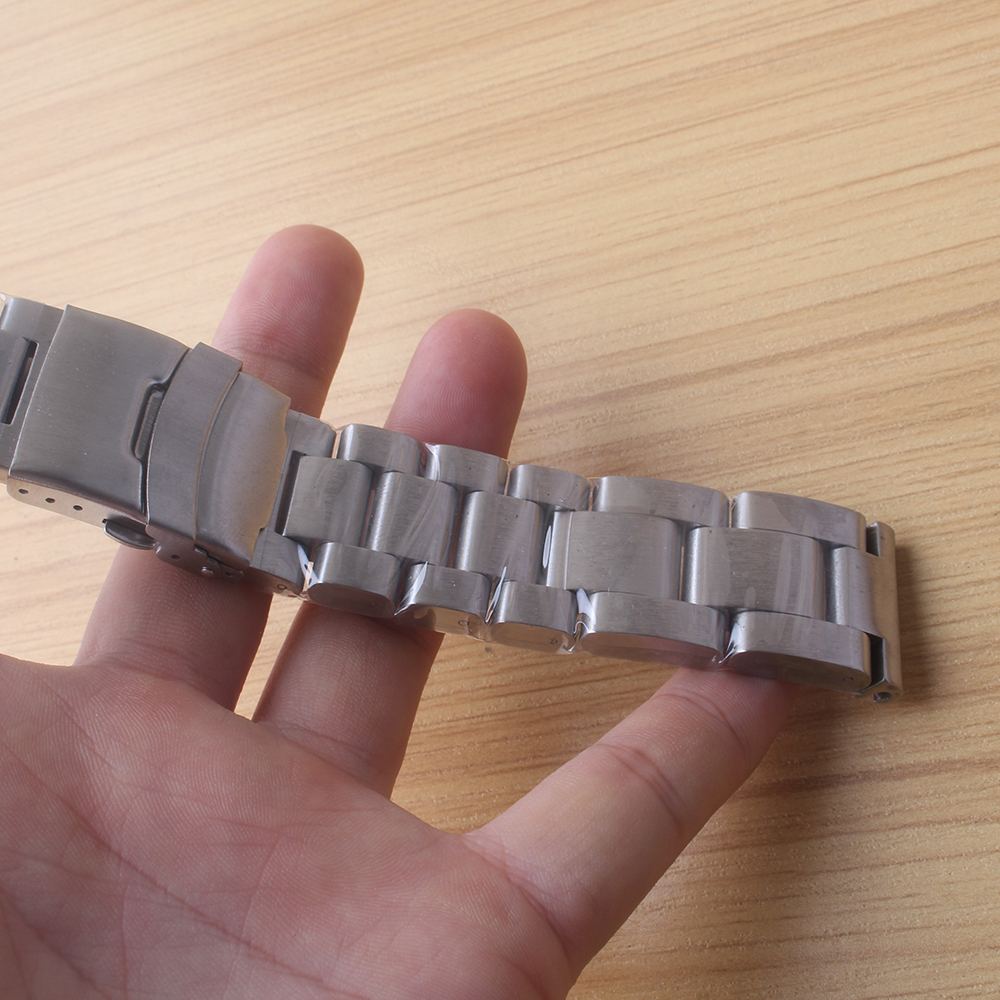Watchbands 22mm 24mm 26mm Heavy Duty Watch accessories Stainless steel thicker Watch strap unpolished metal folding