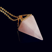 wholesale 10PCS  Gold Plated Natural Rose Quartz quadrangular pyramid Amulet European Fashionable Jewelry