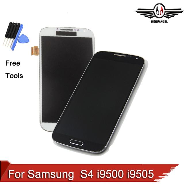 Para samsung galaxy s4 i9500 i9505 lcd de pantalla táctil con marco, envío libre