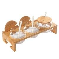 1 piece kitchen utensils ceramic seasoning tank bamboo tray glass bottle salt / sugar / spice bottle kitchenware accessories