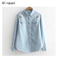 Qlingopt Loose Jeans Shirt And Blouse Blue Embroidery Women Tops Front Pocket Blouses Vadim Blusas Kimono