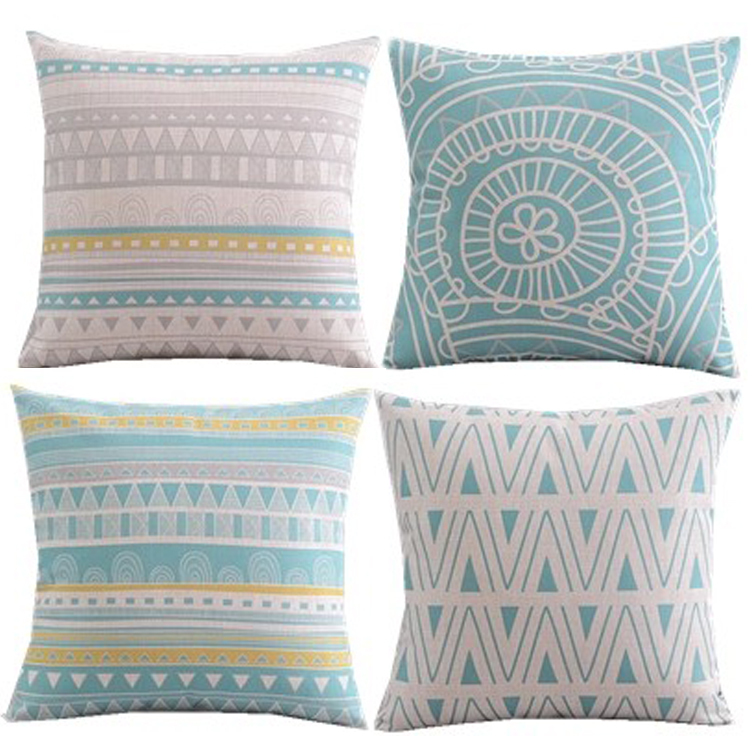 New design/4pcs/blue yellow circle dots chevron cushion cover/throw pillow case/cotton and linen/geometric style/American style