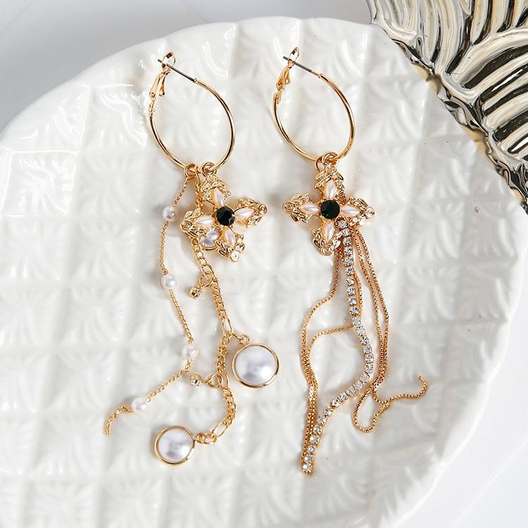 78b44186b AOMU Baroque Vintage Asymmetry Green Stone Cross Simulated Pearl Jewelry  Long Chain Tassel Earrings Women Earrings Accessories -in Drop Earrings  from ...