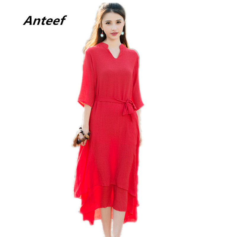 New Fashion Summer Spring Style White Red Cotton Linen Plus Size Women Casual Long Dress
