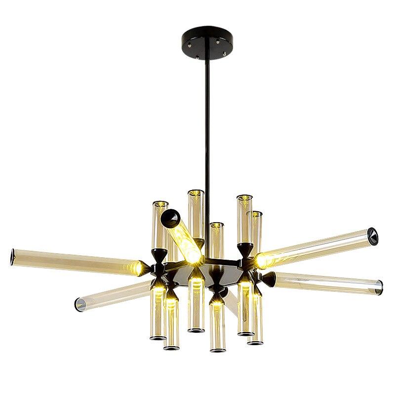 Post-modern Creative Designer Iron Glass Pipe Led Pendant Light For Living Room Dining Room Bar 80-265v 1252 цена и фото
