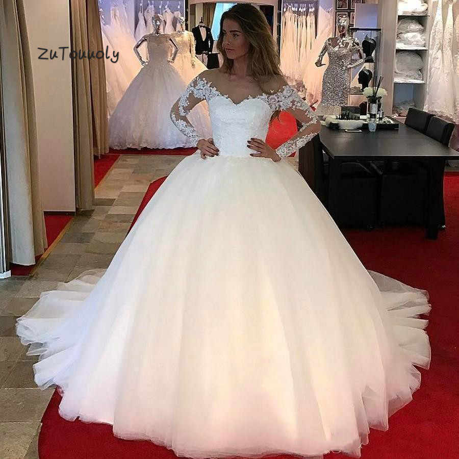 Classy Ball Gown Wedding Dress Vintage Long Sleeve Appliques Tulle Wedding Gowns 2019 Plus Size Robe De Mariage big size wedding