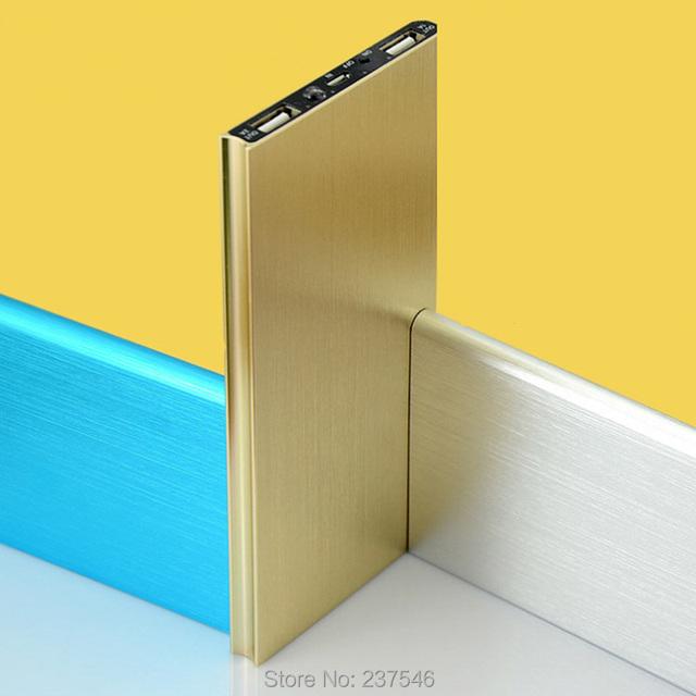 Ultra fino micro usb saída dupla banco do poder para o iphone 7 6 5S samsung s7 s6 s5 edge lg xiaomi bateria externa do telefone mobil
