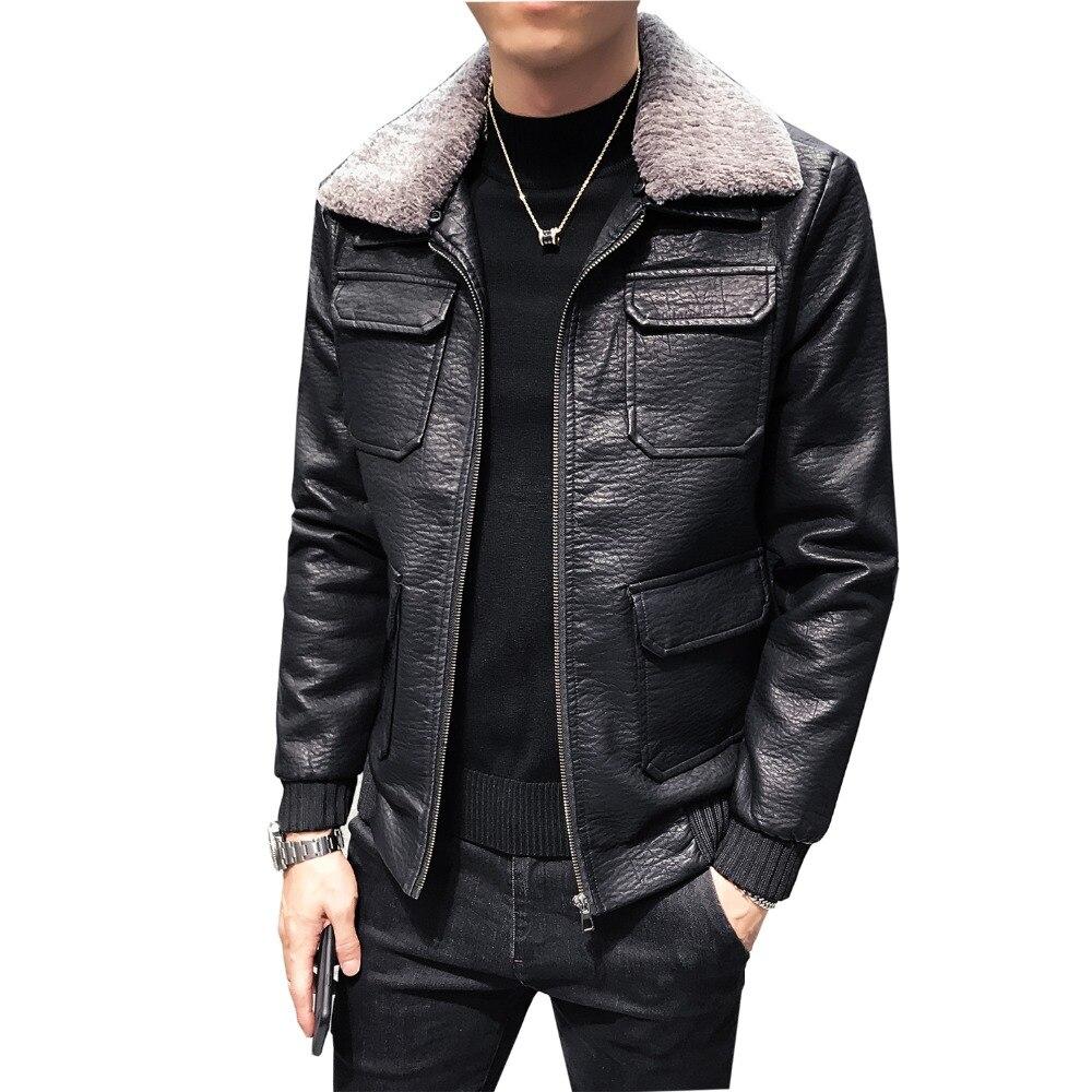 Giacca Pelle Stile 2018 Faux Multi Fit Slim Del Fodera Coreano Di Collare  Caldo Lana Mens Il Cappotto Uomo ... ffa90a77315