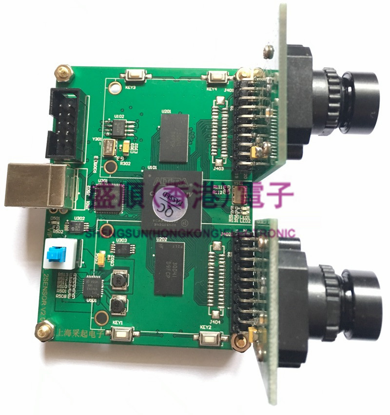 USB Binocular Camera Acquisition FPGA Development Board 1 Million 300 Thousand Black And White Sensor MT9M001C12STM