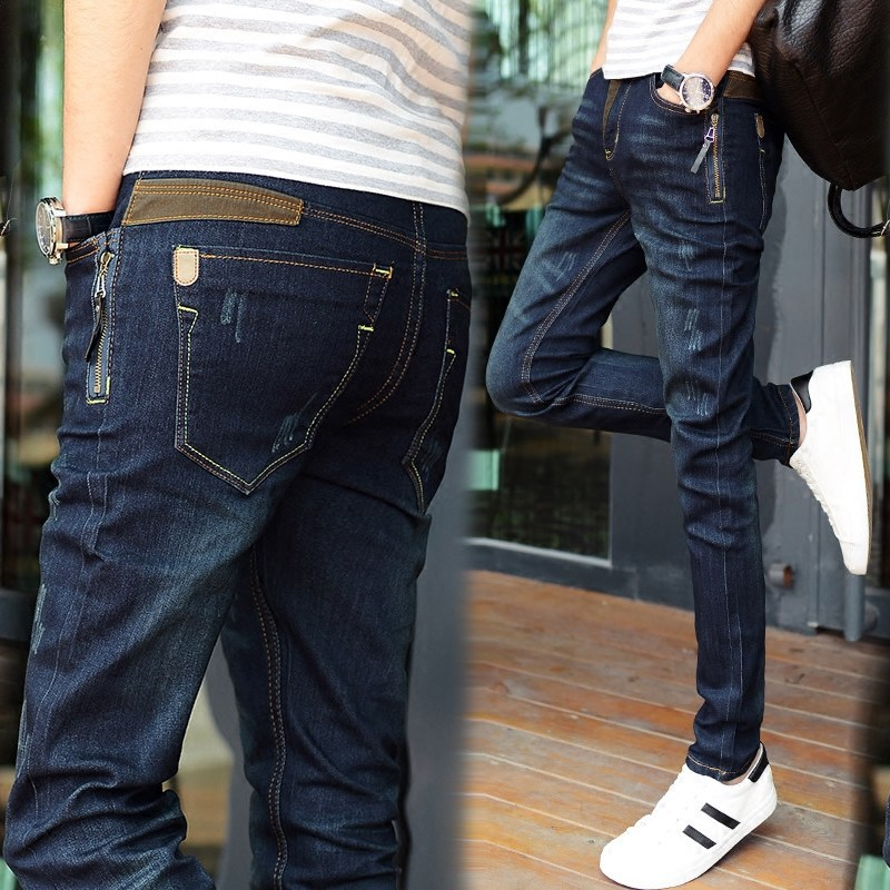 Fashion 2018 Spring Autumn Teenagers male Stretch Patchwork leg Zipper Pocket Pencil pants hip hop men jeans Slim Fit trousers