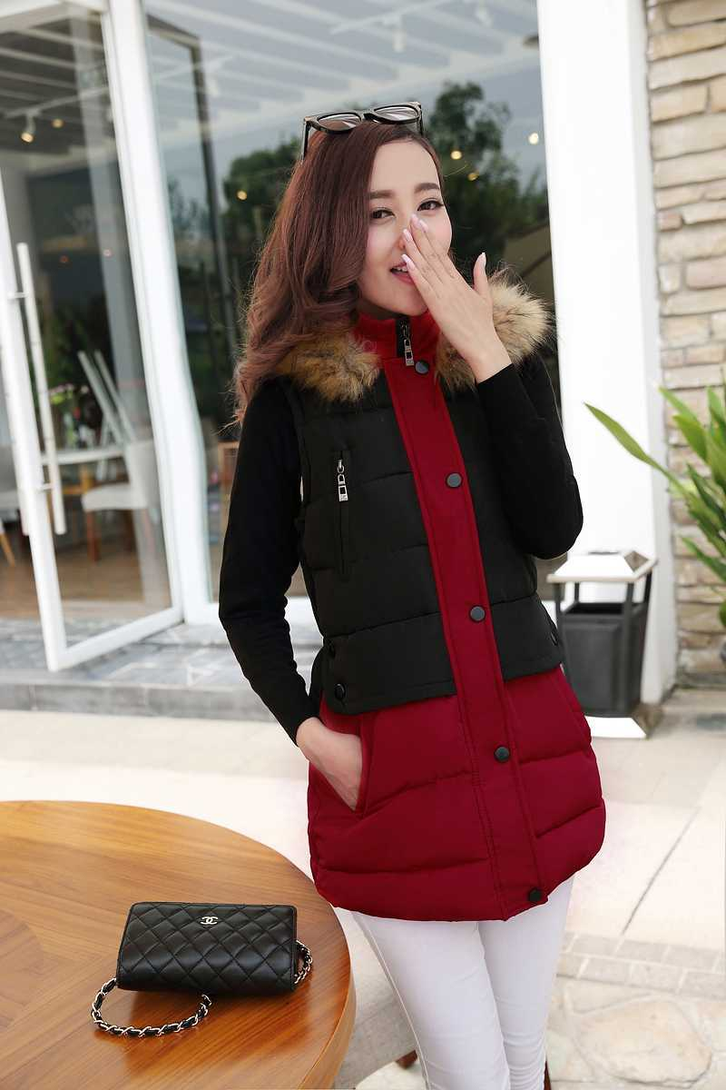 ФОТО New Arrival Fashion Korean Winter Cotton Waistcoat Hooded Fur Collar Zipper Casual Warm Women Vest Long Down Jackets Coat H4306
