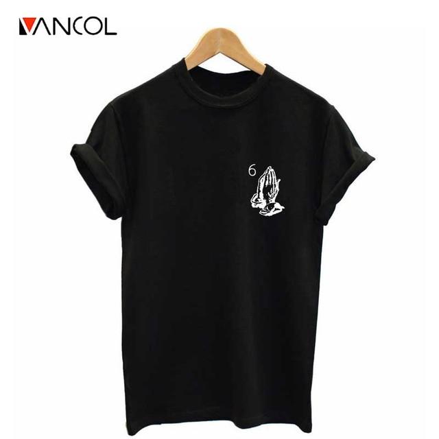 Vancol Impresso T Camisas Dos Homens Roupas Plus Size 3XL 6 Pray mãos Drake Hip Hop t-shirt Da Forma Das Mulheres Do Sexo Feminino Verão Top Tees