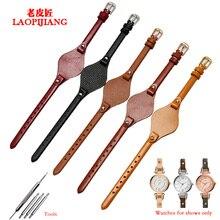 купить High quality plain genuine leather watchband fit fossil ES4114 ES4113 ES3625 ES3616 watch with stainless steel buckle lady strap по цене 1076.62 рублей