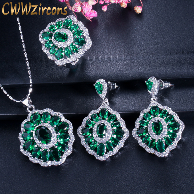Vintage Dark Green Crystal Jewelry Sets Sterling Silver Created Emerald Necklace Earrings And Ring Set For Women Gift T260 a suit of vintage rhinestone artificial crystal necklace ring and earrings for women